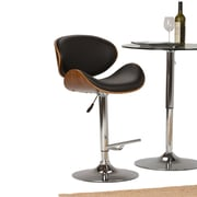 Simpli Home Marana Bentwood Gas Lift Bar Stool in Black Faux Leather (AXCMARN-BL)