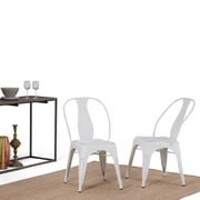 Simpli Home Merritt Metal Dining Arm Chair in Distressed White (Set of 2) (AXCMER-01-DWH)