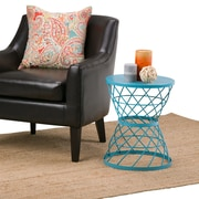 Simpli Home Rodney Metal Accent Table in Turquoise (AXCMTBL-02)