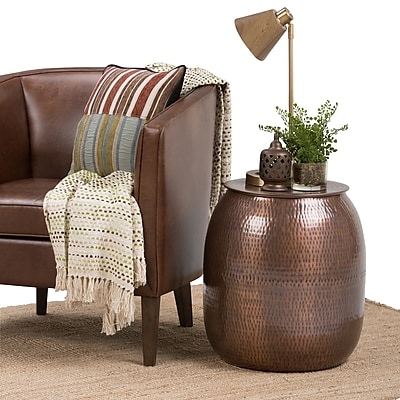 Simpli Home Griffen Metal Storage Accent Table in Antique Copper (AXCMTBL-07)
