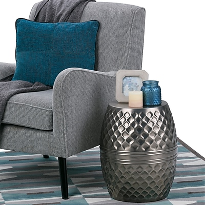 Simpli Home Ramey Metal Accent Table in Antique Silver (AXCMTBL-09)