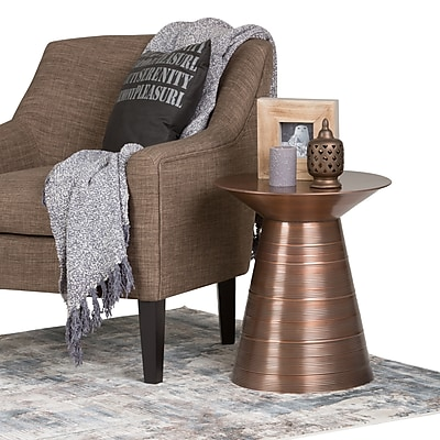 Simpli Home Sheridan Metal Accent Table in Aged Copper (AXCMTBL-10)