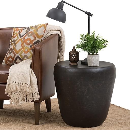 Simpli Home Garvy 20 inch Metal Side Table in Rustic Bronze (AXCMTBL-12-ST)