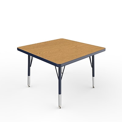 "ECR4Kids Thermo-Fused Adjustable Swivel 30"" Square Laminate Activity Table Oak/Navy (ELR-14216-OKNVNVTS)"