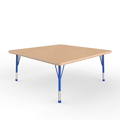 ECR4Kids Thermo-Fused Adjustable Ball 48 Square Laminate Activity Table Maple/Maple/Blue (ELR-14217-MPMPBLTB)