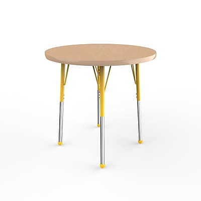 """ECR4Kids Thermo-Fused Adjustable Ball 30"""" Round Laminate Activity Table Maple/Maple/Yellow (ELR-14221-MPMPYESB)"""