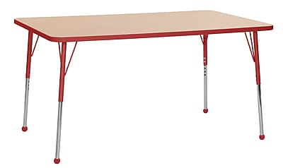 "ECR4Kids T-Mold Adjustable Ball 60"" x 36"" Rectangle Laminate Activity Table Maple/Red (ELR-14122-MRD-SB)"