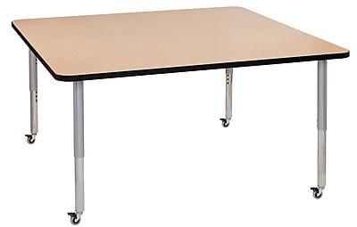 "ECR4Kids T-Mold Adjustable Leg 60"" Square Laminate Activity Table Maple/Black/Silver (ELR-14128-MBKSV-SL)"