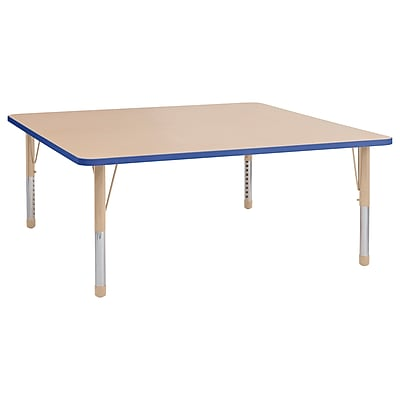 "ECR4Kids T-Mold Adjustable 60"" Square Laminate Activity Table Maple/Blue/Sand (ELR-14128-MBLSD-C)"