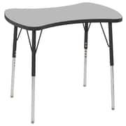 "ECR4Kids Thermo-Fused Adjustable Swivel 36"" Bowtie Laminate Activity Table Grey/Black (ELR-14229-GYBKBKTS)"