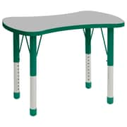 """ECR4Kids Thermo-Fused Adjustable 36"""" Bowtie Laminate Activity Table Grey/Green (ELR-14229-GYGNGNCH)"""