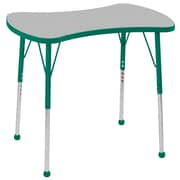 """ECR4Kids Thermo-Fused Adjustable Ball 36"""" Bowtie Laminate Activity Table Grey/Green (ELR-14229-GYGNGNSB)"""