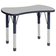 """ECR4Kids Thermo-Fused Adjustable 36"""" Bowtie Laminate Activity Table Grey/Navy (ELR-14229-GYNVNVCH)"""