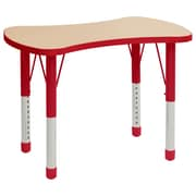 """ECR4Kids Thermo-Fused Adjustable 36"""" Bowtie Laminate Activity Table Maple/Red (ELR-14229-MPRDRDCH)"""
