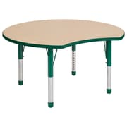 """ECR4Kids Thermo-Fused Adjustable 48"""" Crescent Laminate Activity Table Maple/Green (ELR-14231-MPGNGNCH)"""