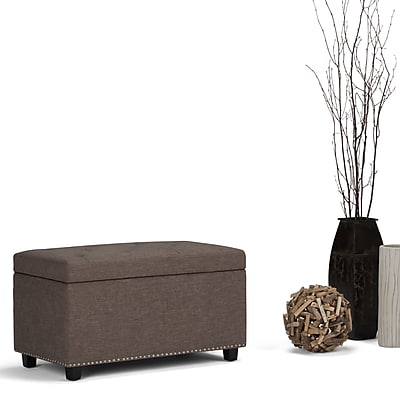 Simpli Home Hannah Storage Ottoman Bench in