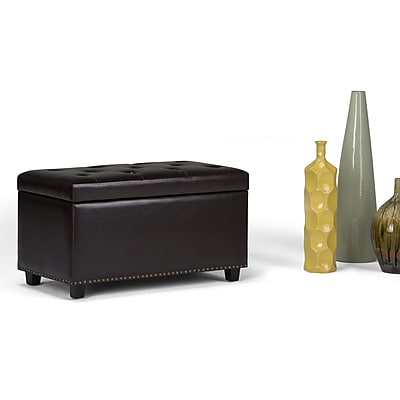 Simpli Home Hannah Storage Ottoman Bench in Tanners Brown (AXCOT-256-BR)