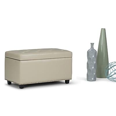 Simpli Home Hannah Storage Ottoman Bench in Satin Cream (AXCOT-256-CR)