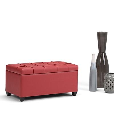 Simpli Home Sienna Storage Ottoman Bench in Crimson Red (AXCOT-258-RD)