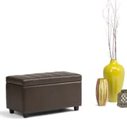Simpli Home Darcy Storage Ottoman Bench in Chocolate Brown (AXCOT-259-CBR)
