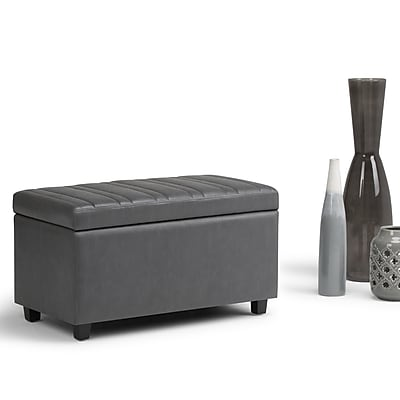 Simpli Home Darcy Storage Ottoman Bench in Stone Grey (AXCOT-259-G)