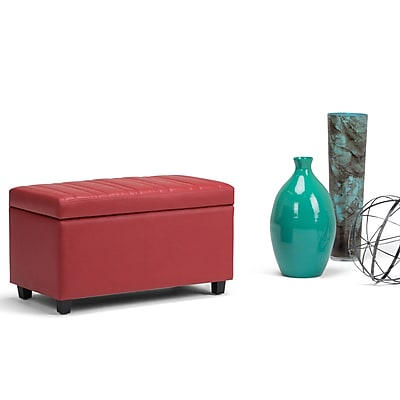 Simpli Home Darcy Storage Ottoman Bench in Crimson Red (AXCOT-259-RD)
