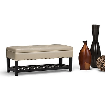 Simpli Home Lomond Storage Ottoman Bench in