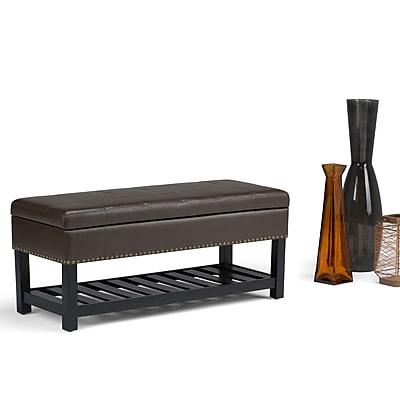 Simpli Home Radley Storage Ottoman Bench in Chocolate Brown (AXCOT-261-CBR)