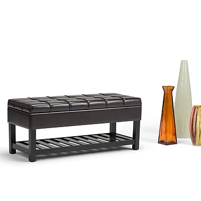 Simpli Home Saxon Storage Ottoman Bench in Tanners Brown (AXCOT-262-BR)