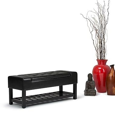 Simpli Home Finley Storage Ottoman Bench in Midnight Black (AXCOT-264-BL)