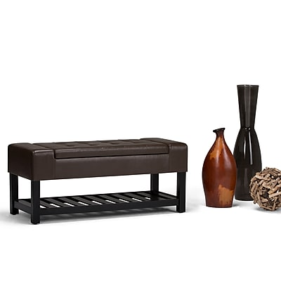 Simpli Home Finley Storage Ottoman Bench in