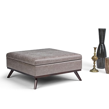 Simpli Home Owen Square Coffee Table Ottoman with Storage in Distressed Taupe (AXCOT267L-DTP)