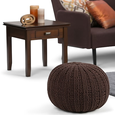 Simpli Home Shelby Hand Knit Round Pouf in Chocolate Brown (AXCPF-02-CBR)