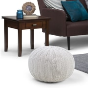 Simpli Home Shelby Hand Knit Round Pouf in Cream (AXCPF-02-CR)