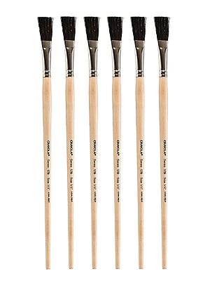 Crayola Series 178 Long Handled Black Bristle Brushes, 1/2 in., Pack of 6 (PK6-05-0178-008)