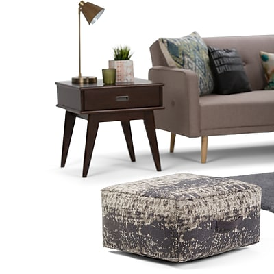 Simpli Home Tilley Patterned Square Pouf in Taupe and Grey (AXCPF-21-T)
