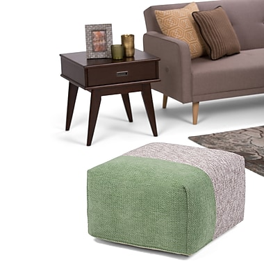 Simpli Home Emmett Chenille Look Square Pouf in Green and Grey (AXCPF-25-G)