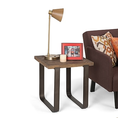 Simpli Home Peyton 20 inch Square End Side Table in Distressed Java Brown Wood Inlay (AXCPYT-02)
