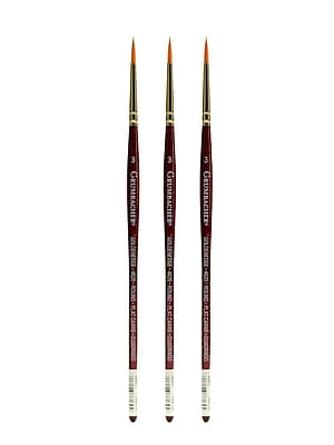 Grumbacher Goldenedge Watercolor Brushes, 3 Round, Pack of 3 (PK3-4620.3)