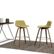 Simpli Home Randolph Bentwood 30 inch Bar Stool in Acid Green Linen Look Fabric (Set of 2) (AXCRAN30N-G)