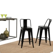 Simpli Home Rayne 24 inch Metal Counter Height Stool in Black (Set of 2) (AXCRAY24-01-GBL)