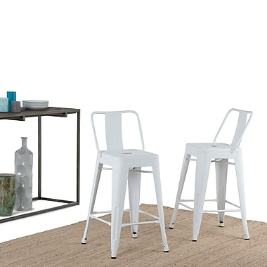 Simpli Home Rayne 24 inch Metal Counter Height Stool in White (Set of 2) (AXCRAY24-01-WH)