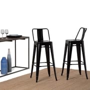 Simpli Home Rayne 30 inch Metal Bar Stool in Black (Set of 2) (AXCRAY30-01-GBL)