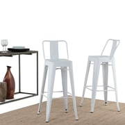Simpli Home Rayne 30 inch Metal Bar Stool in White (Set of 2) (AXCRAY30-01-WH)