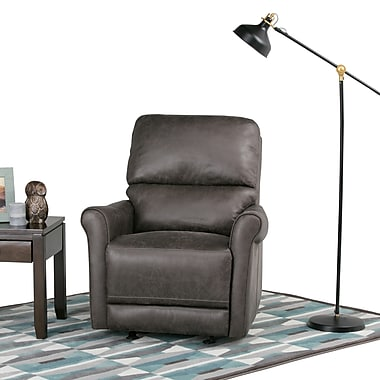 Simpli Home Garrison Faux Leather Glider Recliner in Grey (AXCREC-02-G)