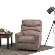 Simpli Home Clancy Faux Leather Recliner in Dark Taupe (AXCREC-05-DT)