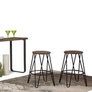 Simpli Home Simeon 24 inch Metal Counter Height Stool with Wood Seat in Black and Cocoa Brown (AXCSIM-24)