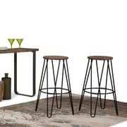 Simpli Home Simeon 30 inch Metal Bar Stool with Wood Seat in Black and Cocoa Brown (AXCSIM-30)