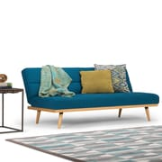 Simpli Home Spencer Linen Look Sofa Bed in Mediterranean Blue (AXCSOF-02-MBU)