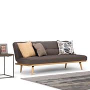 Simpli Home Spencer Linen Look Sofa Bed in Dark Chocolate Brown (AXCSOF-02-SBR)